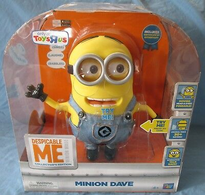 NEW! TALKING MINION DAVE TOYS R US TRU EXCLUSIVE with COA - WORKS! DESPICABLE ME