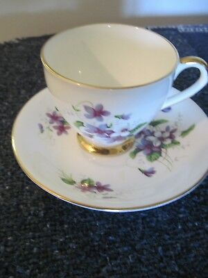 Beautiful Footed Cup & Saucer with Blue Violets by Taylor & Kent  England