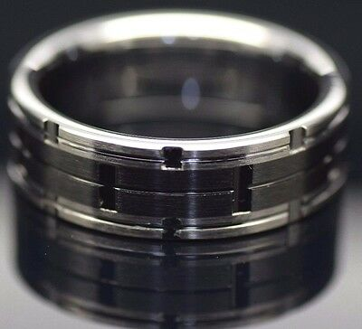 Mens Tungsten Carbide Combination Ring Brushed with Black Ceramic Inlay Wedding