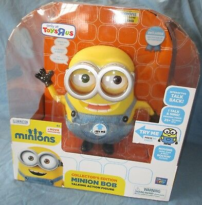NEW! TALKING MINION BOB TOYS R US TRU EXCLUSIVE with COA - WORKS! DESPICABLE ME