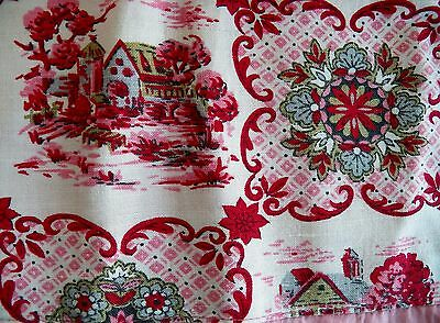 Vintage 1950's Hand Made Reversible Cotton Print Half Apron Great Condition