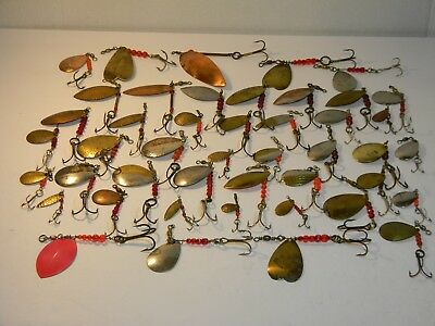 Vintage Huge Lot Of 45 Fishing Lures ***vintage Brass And Nickell***