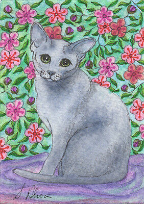 Blue Russian cat orig ACEO mini painting blossom time short hair by Susan Alison