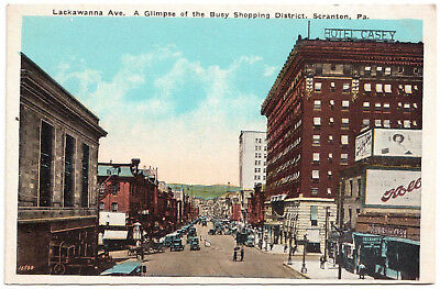 AK US USA Post Lackawanna Ave. Shopping District SCRANTON ungelaufen v. 1945