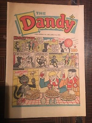 Dandy Comic No 1481 April 11th 1970, Vintage UK Korky the Cat, Desperate Dan