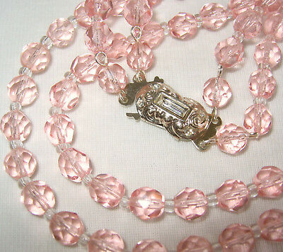 ANTIQUE VINTAGE ART DECO TO 50's 2 ROW L PINK CRYSTAL GLASS BEADS NECKLACE