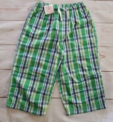 Hanna Andersson Girls Capris Size 150 12-14 Green White Blue Plaid Cotton NEW