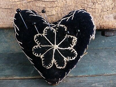 antique hand sewn pin cushion 19th century vermont folk art heart aafa