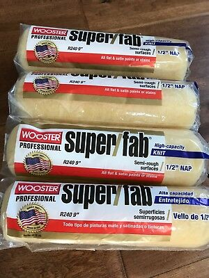 """4 PACK**Wooster PAINT R240 Super Fab  9"""" Roller Cover, 1/2-Inch Nap"""