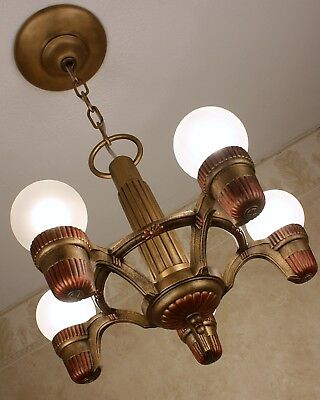 20's  ANTIQUE VINTAGE Art Deco MARKEL  Ceiling Light Fixture CHANDELIER