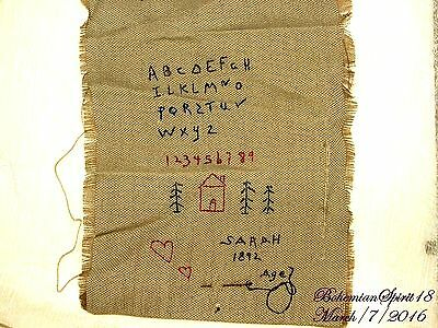 Rare Antique 1892 Little Girl Abc Embroidery Original Needle & Thread By Sarah