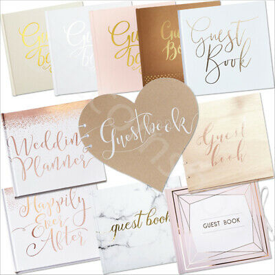 Guest Book Sign Wedding Christening Baby Shower Supplies - Rose Gold Pink/White