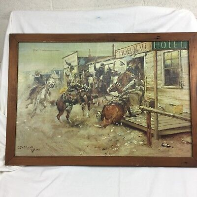 C.M.RUSSELL 1909 Extra Large Original Canvas Print IN WITHOUT KNOCKING Horses