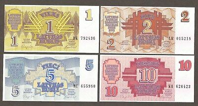 Latvia 1, 2 ,5 10 Rublu 1992; UNC; P-35-38, L-B216a-219a; Set of 4 notes