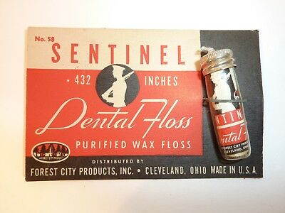 Vintage Sentinel Dental Purified Wax Floss Bottle on Card, Silhouette of Soldier
