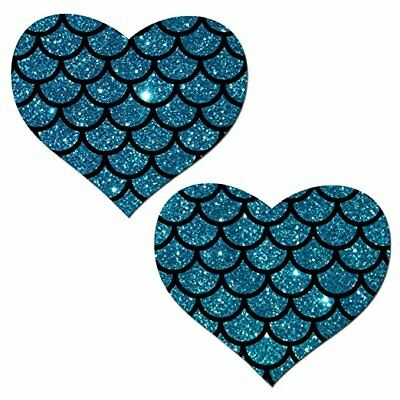 Pastease Blue Mermaid Heart Pasties Cover  ~ 1 pair