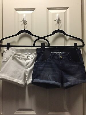 Liz Lange Maternity Shorts Lot- X-Small (0-2) Blue and White Denim Rolled