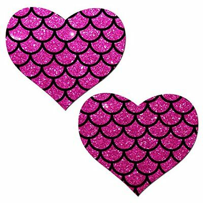 Pastease Pink Mermaid Heart Pasties Cover  ~ 1 pair