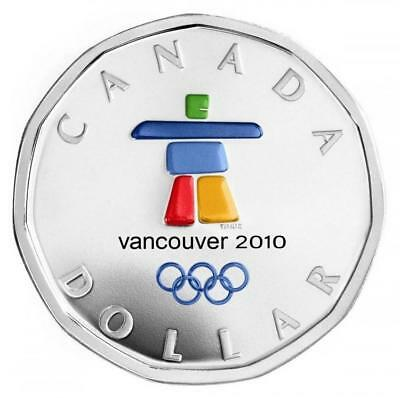 2010 Canada $1 Olympic Silver Lucky Loonie Inukshuk coloured Coin Sterling w/Box