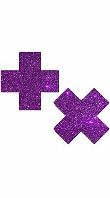 Pastease Purple Glitter Plus X Pasties Cover  ~ 1 pair