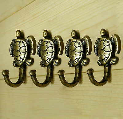 Lot of 10 pcs Solid Brass Antique Vintage TURTLE Hat Coat Wall HOOK