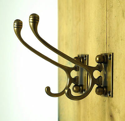 "3.74"" 2 pcs Vintage Retro Western Folding Brass Atg Wall Coat Hat Hook Hanger"