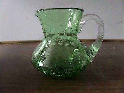 """Vintage Crackle Glass Pitcher - Green - 3 1/4"""" Tall"""