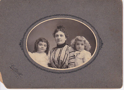 Antique Oval Photo Mother and Two Children Girls Blonde Brunette Ringlets