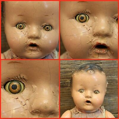 Vintage SUPER CREEPY Soul Vanquishing Toy Closing Sleeping Eyes DOLL Satan  666