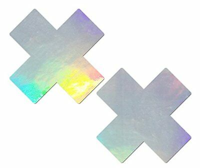 Pastease Silver Hologram Plus X Pasties Cover  ~ 1 pair
