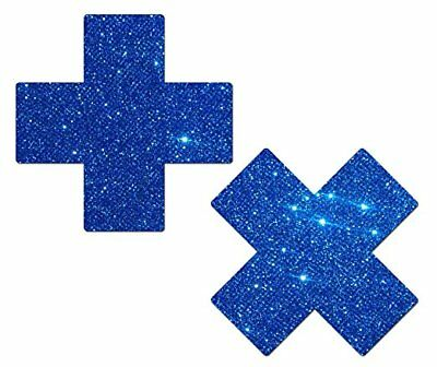 Pastease Blue Glitter Plus X Pasties Cover  ~ 1 pair