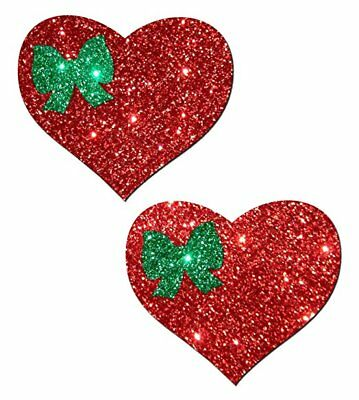 Pastease Red/Green Christmas Holiday Heart Pasties Cover  ~ 1 pair