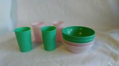 Vintage GERBER BABY Plastic Cup Bowl Lot Of 8 Green Pink Dishes