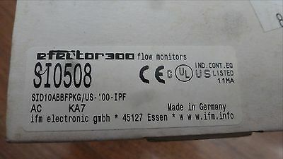 IFM Efector Flow Sensor, SI0508, SID10ABBFPKG/US-100   *New Old Stock*