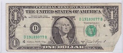 Series 1981 A Green Seal One Dollar $1 Note Obstructed Printing Error