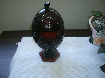 Vintage Red Ruby Candy Dish with Lid