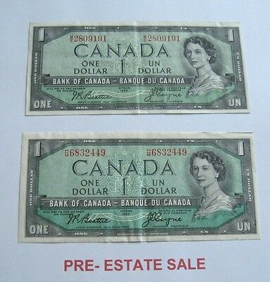 1954 Canada Canadian $1 One Dollar Banknote Bank of Canada Note PAIR 2 VERSIONS