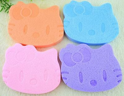 *Cute Soft Hello Kitty Baby Bath Cleansing Face Facial Cosmetic Makeup Sponge*