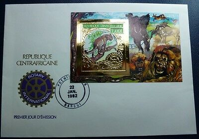 ZENTRALAFRIKA 1982 Leopard Rotary Gold Block 171 B Imperf FDC First Day Cover