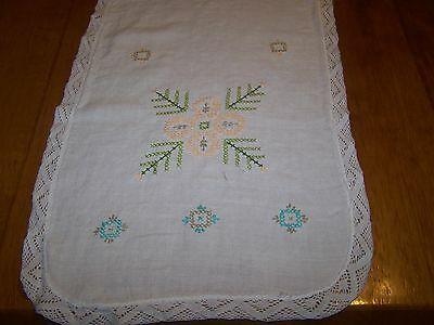 Vintage Embroidered-Crochet Dresser Scarf or Table Runner with Flowers