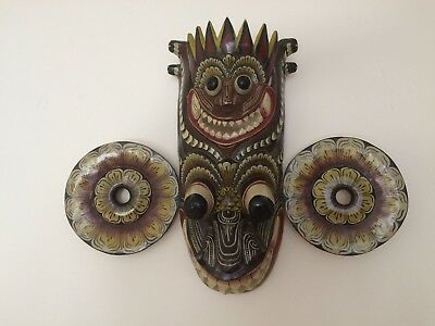 Large, unique, ceremonial wooden mask!  Custom made in Sri Lanka 35 years ago.