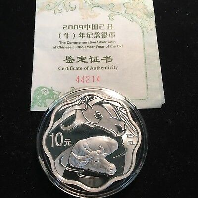 2009 China Year of the Ox 10 Yuan 1 oz .999 Silver #44214