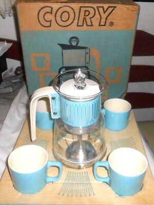 Cory Mid Century Modern Coffee Maker Plus Matching Cups Nos