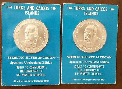 Two - 1974 Turks & Caicos Islands Sterling Silver 20 Crown Winston Churchill