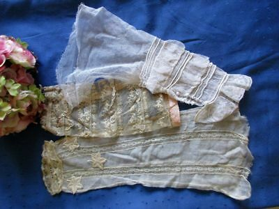 Antique Hand Made Lot Of 3 Sleeves~Lace~Voile~Applique Motifs~Re-Purpose~Dolls