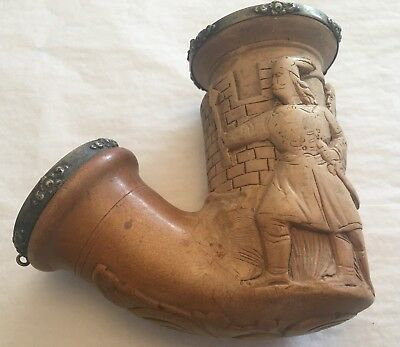 ANTIQUE 19th CENTURY MEERSCHAUM PIPE BOWL~MAKRED JK~FOUR MEN~SWORD