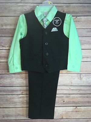 NWT George Boy's Black & Green Dress Suit 4 Piece Vest Tie Set Outfit