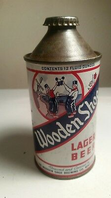 """Wooden Shoe Lager Beer cone top beer can USBC 189-17 """"Cap Sealed"""" IRTP"""