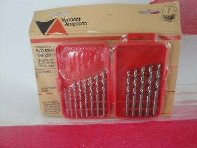 "Vermont American  High speed steel drill bits 13 piece set 1/16"" through 1/4"" by"