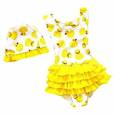 Baby Girls Toddler Bathing Suit Cute Duck Print One Piece Swimsuit Swimwear With